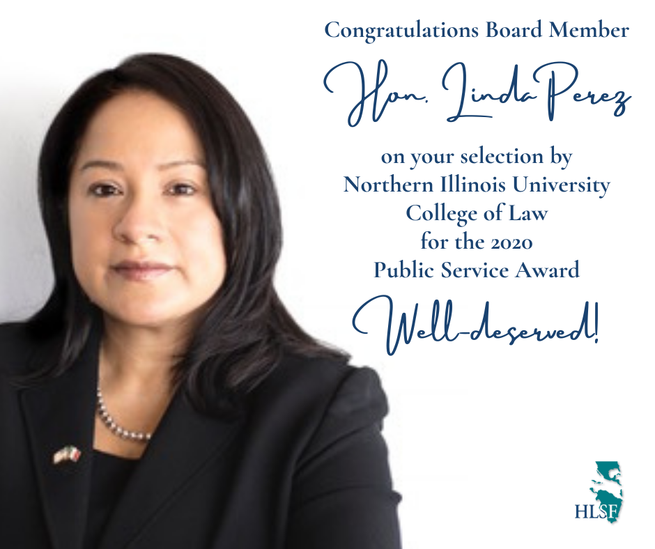 Hon. Linda Perez selected as NIU College of Law 2020 Public Service Awardee