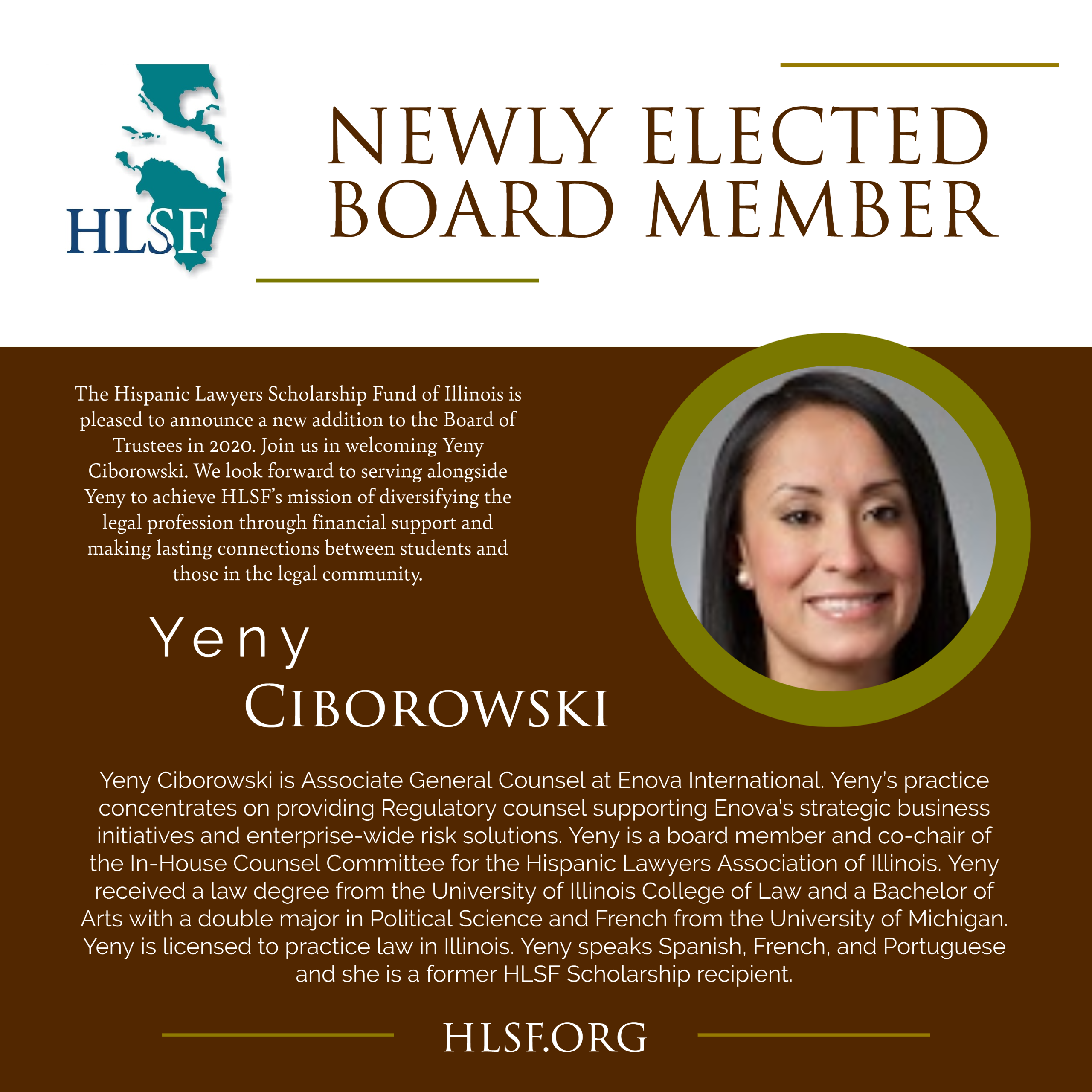 HLSF Welcomes Yeny Ciborowski to the Board