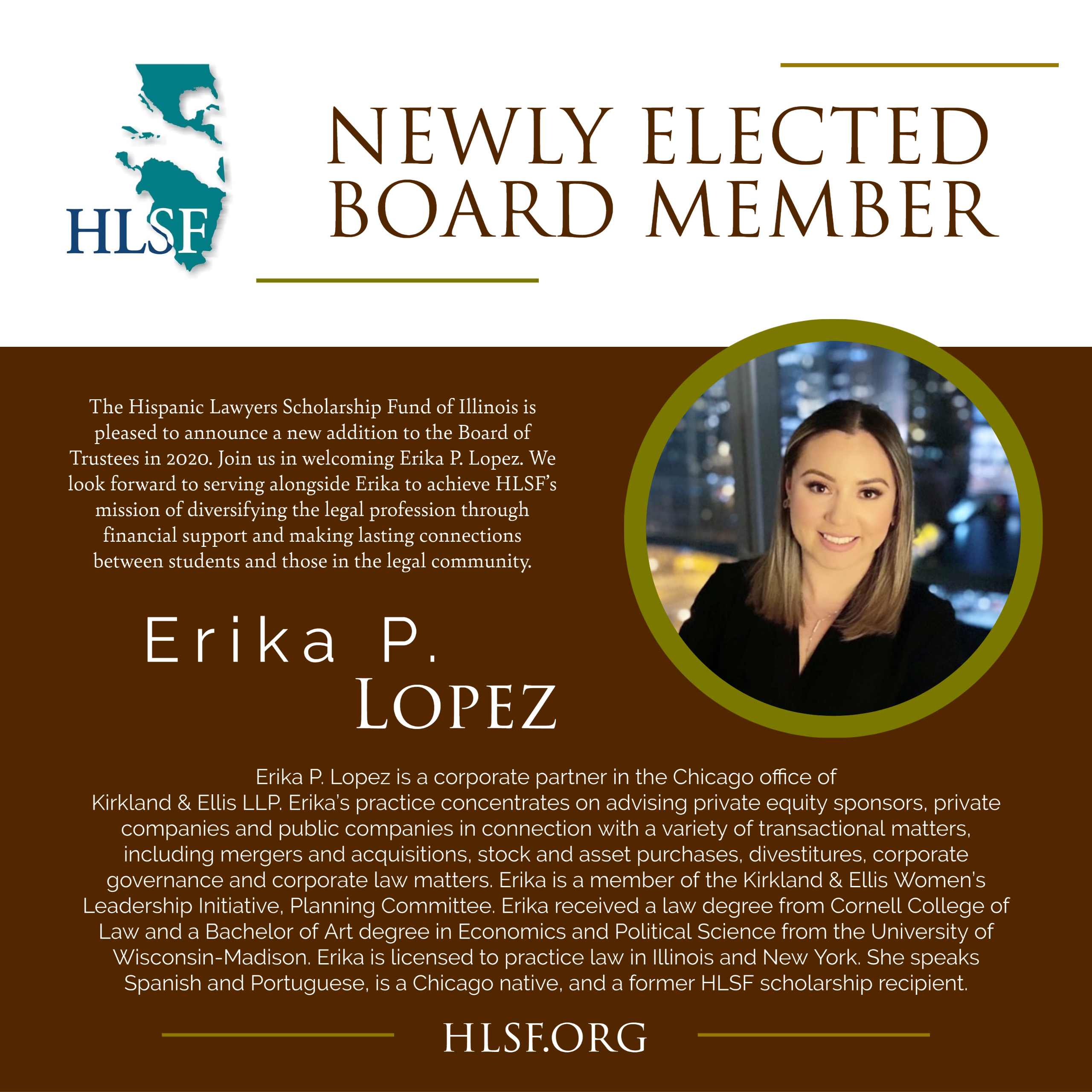 HLSF Welcomes Erika P. Lopez to the Board